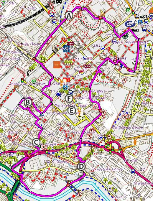Historic Exeter Circular Walk with up to date map