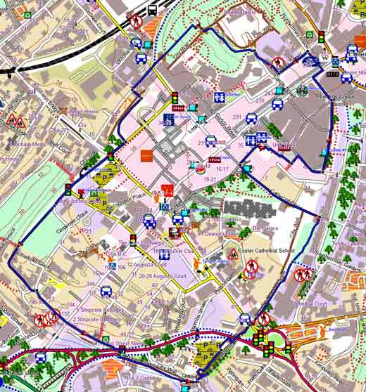 Exeter Wall Circular Walk with up to date map